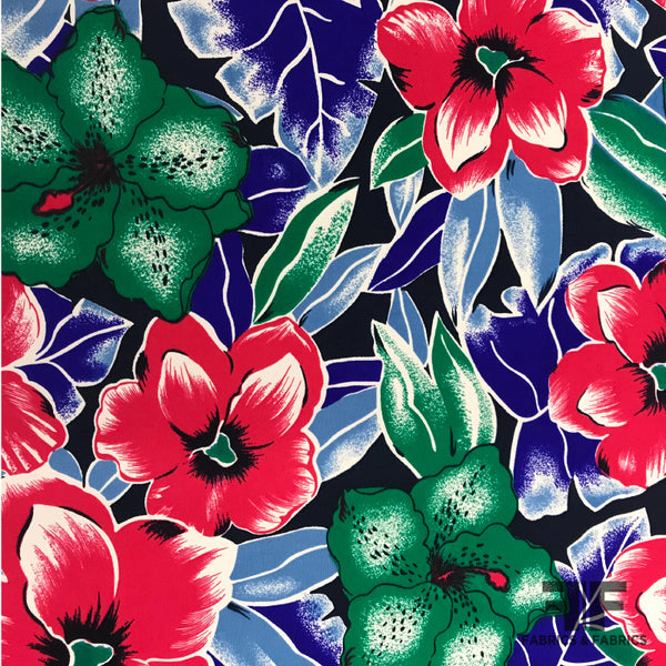 Floral Printed Crepe de Chine - Blue/Pink/Green - Fabrics & Fabrics