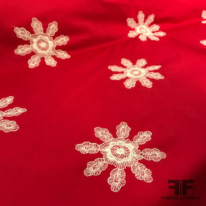Floral Embroidered Heavy-Weight Cotton Poplin - Red/ Off-White - Fabrics & Fabrics
