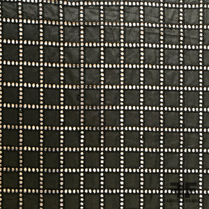 Window Pane Check Cotton Eyelet - Black - Fabrics & Fabrics