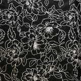 Italian Floral Heavyweight Embroidered Linen - Black & White - Fabrics & Fabrics