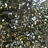 Metallic Multi-Size Sequins on 2 Way Stretch Mesh - Gold/Black - Fabrics & Fabrics