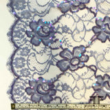 French Couture Chantilly Lace with Sequins - Periwinkle - Fabrics & Fabrics