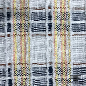 Italian Cotton Tweed Plaid Suiting - White/Navy/Multicolor