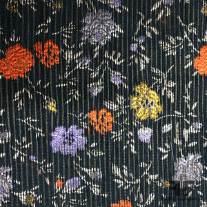 Italian Metallic Floral Corded Brocade - Multicolor