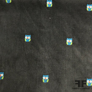 Owl Embroidered Cotton Corduroy - Slate Grey/Multicolor
