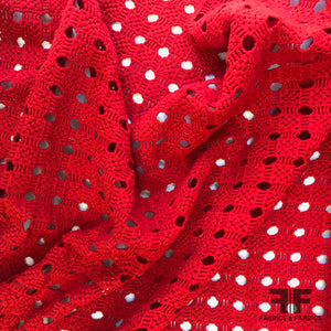 Geometric Guipure Lace - Red