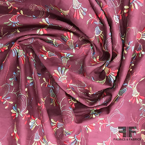 Floral Embroidered Cotton Lawn - Burgundy