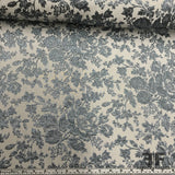Italian Metallic Floral Lame - Blue/White