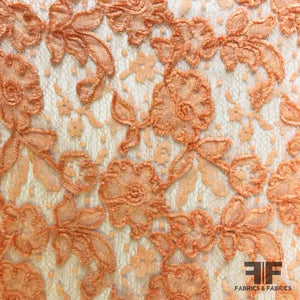 Couture Embroidered Chenille Lace - Peach - Fabrics & Fabrics