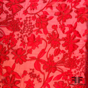 French Couture Beaded & Burnout Silk Chiffon - Red - Fabrics & Fabrics