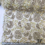 Vintage French Couture Hand Beaded/Sequin Floral Lace - Ivory/Brown/Beige - Fabrics & Fabrics