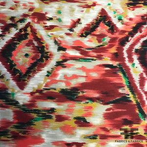 Italian Abstract Ikat Printed Silk Zibeline - Red/Black/Beige - Fabrics & Fabrics