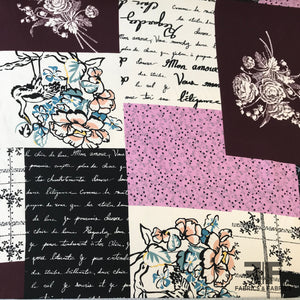 Floral and Text Patchwork Printed Silk Charmeuse- Multicolor - Fabrics & Fabrics