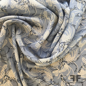 Abstract Floral Silk Georgette with French Text - Blue/White/Black - Fabrics & Fabrics