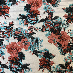 Blooming Rose Brocade - Pink/Blue/Silver - Fabrics & Fabrics