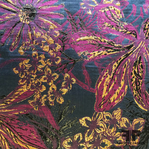 Tropical Multi Floral Metallic Brocade - Purple/Gold/Blue - Fabrics & Fabrics