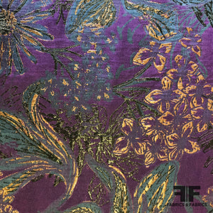 Tropical Multi Floral Metallic Brocade - Deep Purple/Deep Blue - Fabrics & Fabrics
