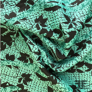 Abstract Textured Brocade - Teal Green/Black - Fabrics & Fabrics