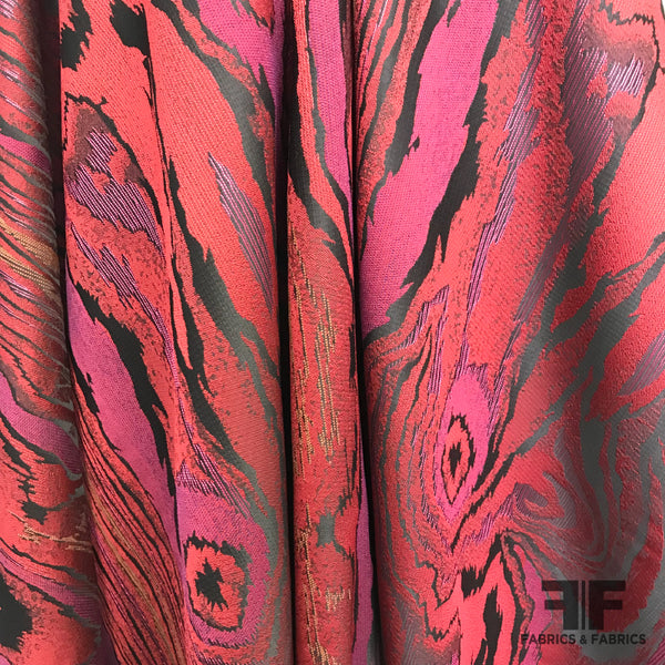 Swirl Metallic Brocade - Red/Black/Pink - Fabrics & Fabrics