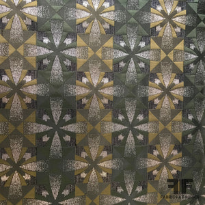 Metallic Geometric Brocade - Green/Brown/Black/Silver - Fabrics & Fabrics