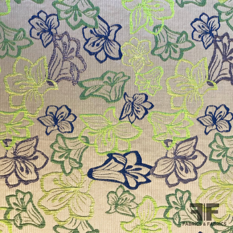 tropical floral brocade fabric green blue