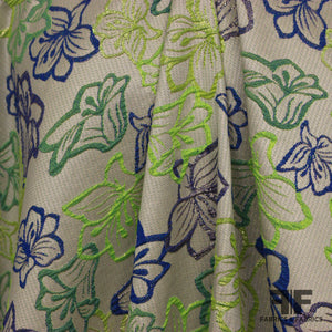 Tropical Floral Brocade - Green/Blue/Metallic - Fabrics & Fabrics