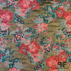 Floral Burst Metallic Brocade - Pink/Bronze