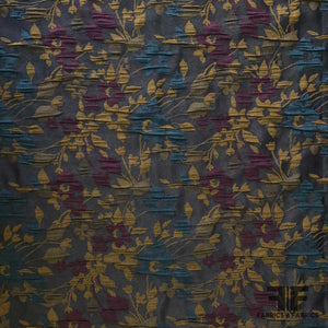 Small Scale Floral Brocade - Blue/Purple - Fabrics & Fabrics