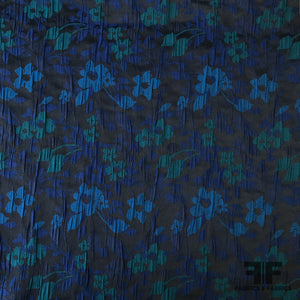 Small Scale Floral Brocade - Blue/Teal
