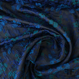 Small Scale Floral Brocade - Blue/Teal - Fabrics & Fabrics