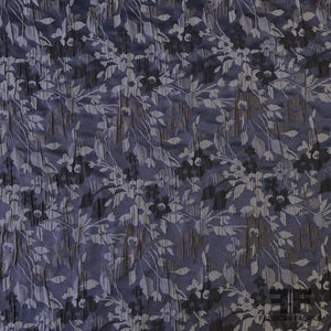 Small Scale Floral Brocade - Blue/Grey