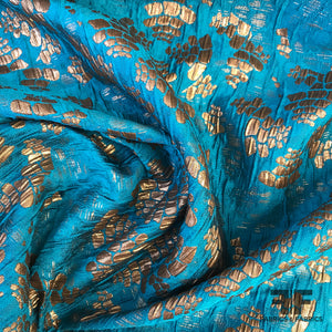 Abstract Metallic Textured Brocade - Gold/Blue - Fabrics & Fabrics