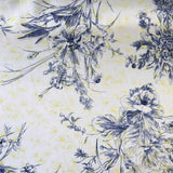 Floral Line-Drawing Silk Charmeuse - White/Navy/Yellow - Fabrics & Fabrics