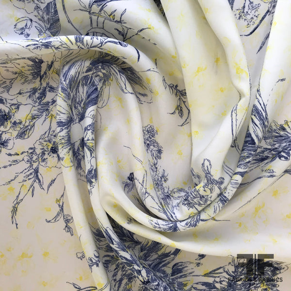 Floral Line-Drawing Silk Charmeuse (Reverse/Matte Side Printed) - White/Navy/Yellow - Fabrics & Fabrics