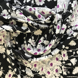 Floral Silk Charmeuse - Black/White/Purple - Fabrics & Fabrics