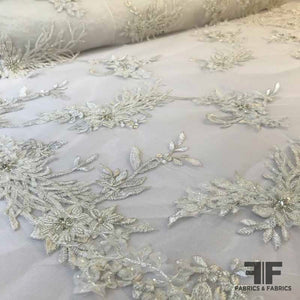 Couture Beaded Bridal Netting - White - Fabrics & Fabrics