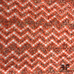 Novelty Open Knit Chevron Zig Zag Wool - Coral/Multicolor