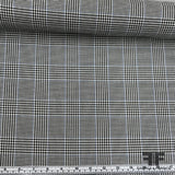 Italian Classic Houndstooth Check Wool & Cotton Suiting - Black & White/Blue - Fabrics & Fabrics