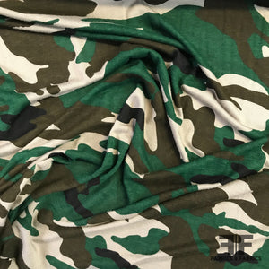Lightweight Camo Rayon Spandex Jersey Knit - Green/Brown/Black/Tan