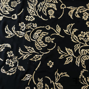 Novelty Floral Cracked Ice Chiffon - Black/Gold - Fabrics & Fabrics