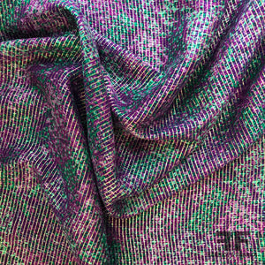 Multicolor Metallic Striped Silk Chiffon - Purple/Teal/Gold - Fabrics & Fabrics