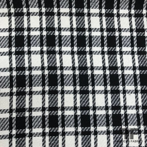 Italian Plaid Wool Suiting - Black/Off-White - Fabrics & Fabrics