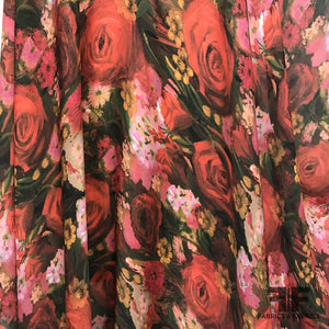 Italian Rose & Floral Printed Silk Georgette - Red