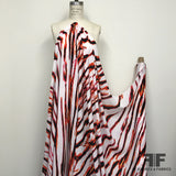 Abstract Zebra Print Silk Georgette - White/Red/Orange/Black - Fabrics & Fabrics