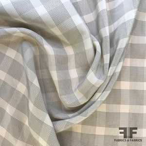 Plaid Silk Crepe de Chine - Grey/Off-White