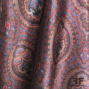 Paisley Silk & Wool Blend - Maroon/Multicolor