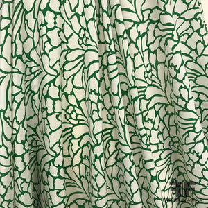 Abstract Silk Crepe de Chine - Green/Off-White - Fabrics & Fabrics