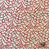 Abstract Silk Crepe de Chine - Red/Off-White - Fabrics & Fabrics