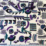 Abstracted Printed Silk Crepe - Cream/Purple/Teal/Black - Fabrics & Fabrics