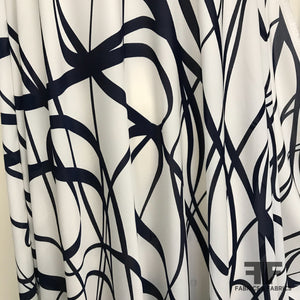 Abstract Lines Printed on Silk Georgette - Cream/Midnight Blue - Fabrics & Fabrics